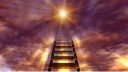 Royalty Free Video of a Moving Sky Over a Stairway Leading to a Bright Light