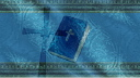Royalty Free Video of a Bible With a Cross and a Blue Border in the Background