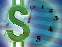 Royalty Free Video of a Spinning Dollar Sign in Front of a Clock