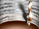 Royalty Free Video of a Treble Clef in Front of Sheet Music