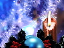Royalty Free Video of Candles and Christmas Ornaments