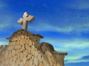 Royalty Free Video of Cross at the Top of a Wall