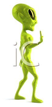 Royalty Free 3d Clipart Image of an Alien Turned to the Side