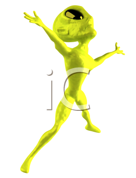 Royalty Free Clipart Image of an Alien Jumping
