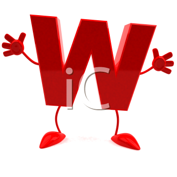 Royalty Free 3d Clipart Image of the Letter W Jumping