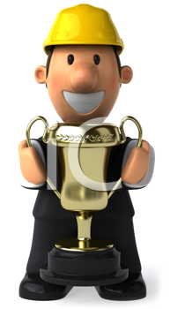 Royalty Free Clipart Image of a Man in a Hard Hat Holding a Trophy