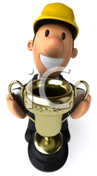 Royalty Free Clipart Image of an Guy in a Hard Hat Holding a Cup