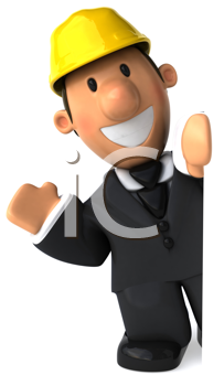 Royalty Free Clipart Image of an Waving Architect