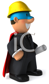 Royalty Free Clipart Image of a Superhero Architect