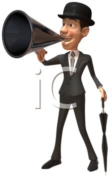 Royalty Free Clipart Image of a British Man With a Megaphone