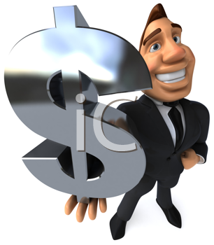 Royalty Free Clipart Image of a Businessman Holding a Dollar Sign