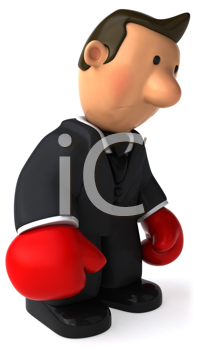 Royalty Free Clipart Image of a Businessman Boxing
