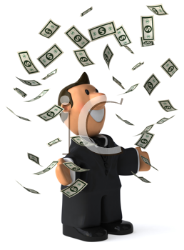 Royalty Free Clipart Image of a Businessman Throwing Dollar Bills