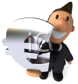 Royalty Free Clipart Image of a Businessman Holding an E Commerce Sign