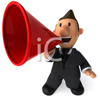 Royalty Free Clipart Image of a Businessman With a Megaphone