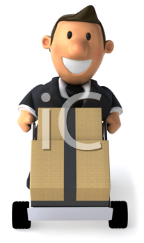 Royalty Free Clipart Image of a Businessman Moving Crates