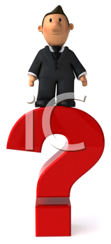 Royalty Free Clipart Image of a Man on a Question Mark