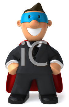 Royalty Free Clipart Image of a Business Man With a Superhero Red Cape and Blue Mask