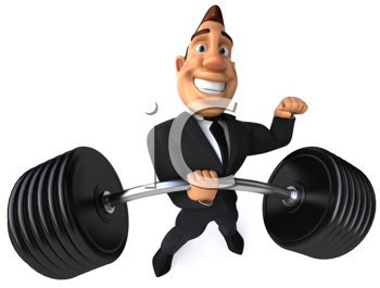 Royalty Free Clipart Image of a Businessman Lifting a Barbell With One Hand