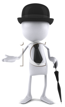 Royalty Free Clipart Image of a Faceless Dude Wearing a Bowler and Tie and Carrying an Umbrella