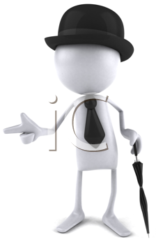 Royalty Free Clipart Image of a White Ball Guy In a Bowler With an Umbrella