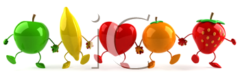 Royalty Free Clipart Image of Fruit and a Heart Holding Hands in a Line