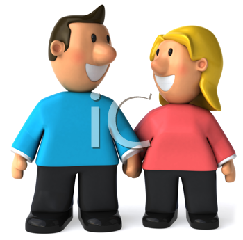 Royalty Free Clipart Image of a Couple Holding Hands and Looking at Each Other