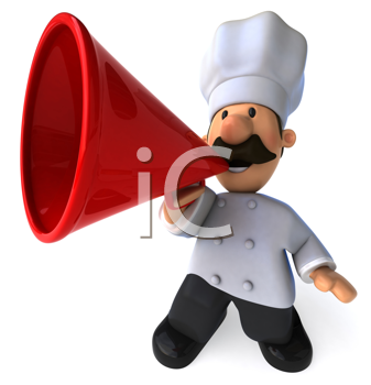 Royalty Free Clipart Image of a Chef With a Megaphone