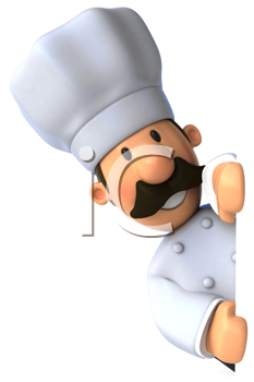 Royalty Free Clipart Image of a Chef Peaking Out from Behind a Wall