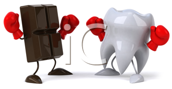 Royalty Free Clipart Image of a Piece of Chocolate and Tooth With Boxing Gloves on