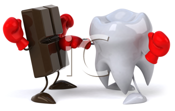 Royalty Free Clipart Image of Chocolate Boxing With a Tooth