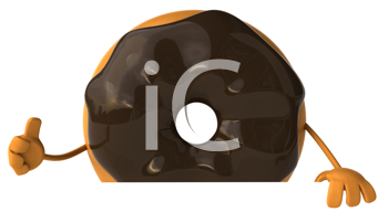 Royalty Free Clipart Image of a Doughnut With Chocolate Icing Giving a Thumbs Up