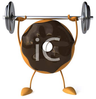 Royalty Free Clipart Image of a Chocolate Doughnut Lifting Weights