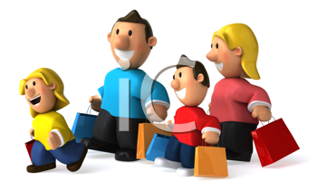 Royalty Free Clipart Image of a Family Shopping