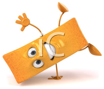 Royalty Free Clipart Image of a French Fry Doing a Handstand
