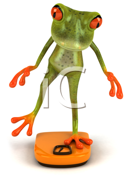 Royalty Free Clipart Image of a Frog Balancing on a Bathroom Scale