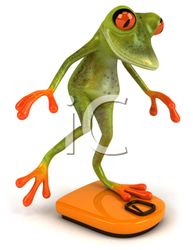 Royalty Free Clipart Image of a Frog on a Bathroom Scale