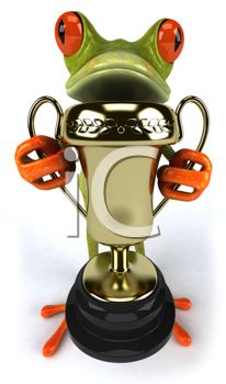 Royalty Free Clipart Image of a Frog With a Trohpy