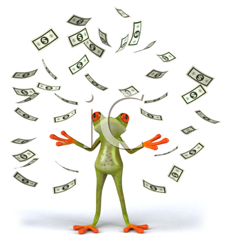 Royalty Free Clipart Image of a Frog Throwing Money
