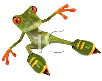 Royalty Free Clipart Image of a Frog on Rollerblades
