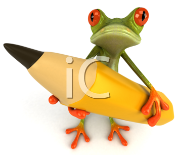 Royalty Free Clipart Image of a Frog With a Pencil