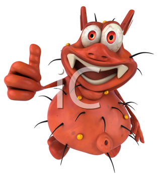 Royalty Free Clipart Image of a Germ Giving a Thumbs Up