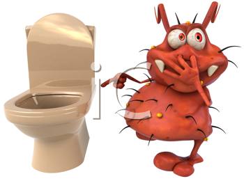 Royalty Free Clipart Image of a Germ at the Toilet