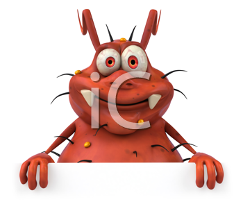 Royalty Free Clipart Image of an Orange Germ