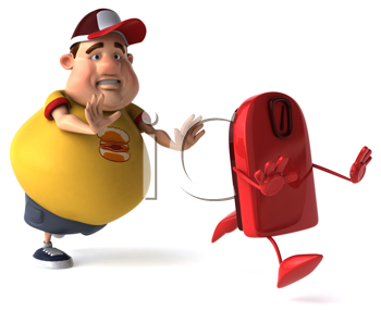 Royalty Free Clipart Image of a Chubby Man Chasing a Bathroom Scale