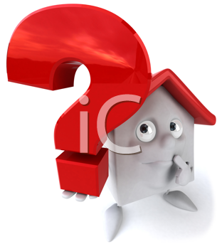 Royalty Free Clipart Image of a House With a Question Mark