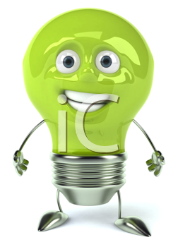 Royalty Free Clipart Image of a Green Lightbulb
