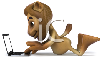 Royalty Free Clipart Image of a Lion With a Laptop