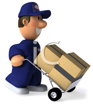 Royalty Free Clipart Image of a Man In Coveralls Moving Packages
