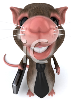 Royalty Free Clipart Image of a Mouse in a Tie and Carrying a Briefcase